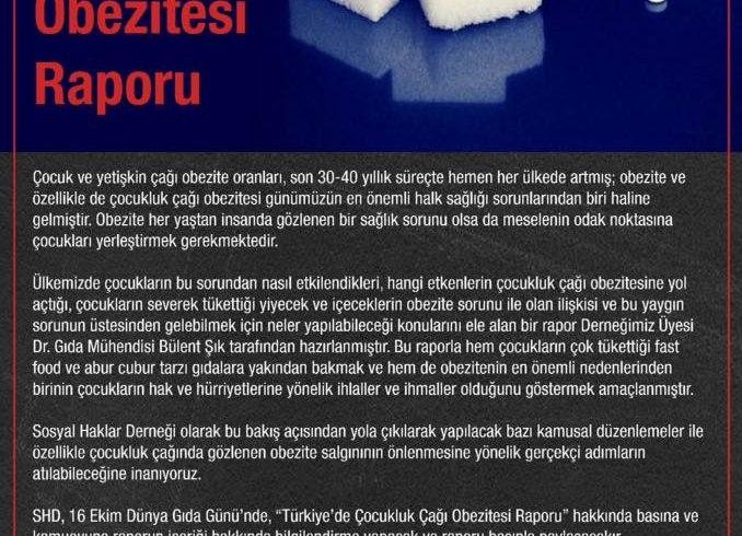 """Basın Toplantısına Davet: Sosyal Haklar Derneği,16 Ekim Dünya Gıda Gününde """"Türkiye'de Çocukluk Çağı Obezitesi Raporu""""nu Açıklayacak"""